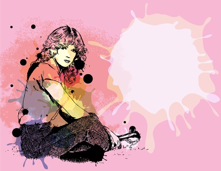 hand drawn illustration of a girl sitting on grass with color splashes on pink background Vector