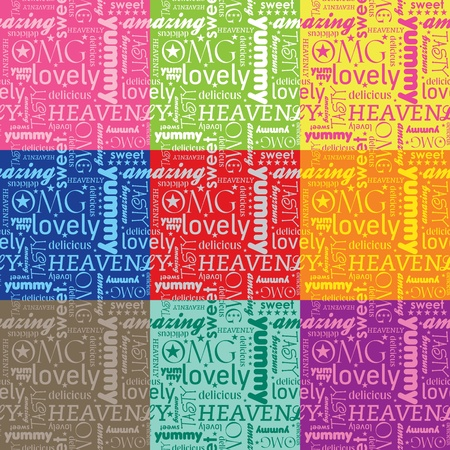 tagcloud: seamless pattern with typography for food and beverages with color alternatives