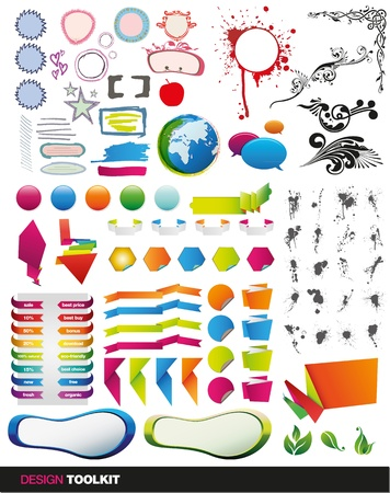 tens of vector elements for your print and web designs, a full set of modern graphic design items Stock Vector - 9865901
