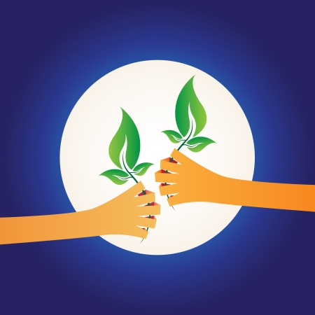 illustration of two hands giving each other green plants, world protection concept on night background Vector