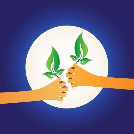 activism: Ilustraci�n de dos manos dando entre s� las plantas verdes, concepto de protecci�n mundial sobre fondo de noche Vectores