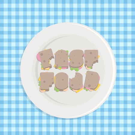 illustration of typographic sandwiches in a plate on a blue checkered table cloth, fast food Vector