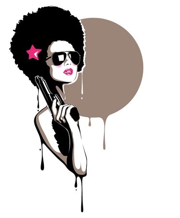 A beautiful illustration of a pretty girl holding a gun, perfect for t-shirt, posters, event flyers etc. Vector