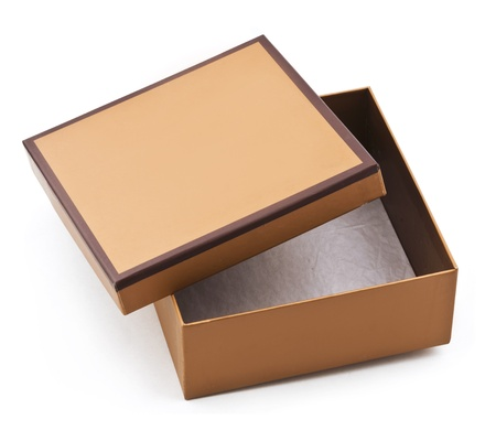 product box: isolated image of a empty and half-opened brown cardboard box  Stock Photo