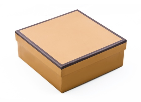 box of chocolates: isolated image of a brown cardboard box  Stock Photo