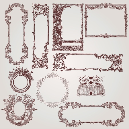 a collection of beautiful antique victorian, baroque frames and design elements Vector
