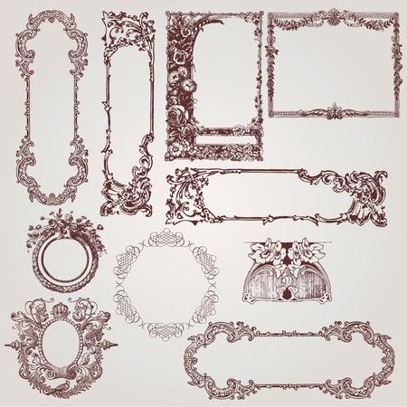 una raccolta di belle cornici antichi di vittoriani, barocchi ed elementi di design