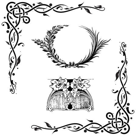 esquineros de flores: Colecci�n de elementos de dise�o de estilo cl�sico de vectores