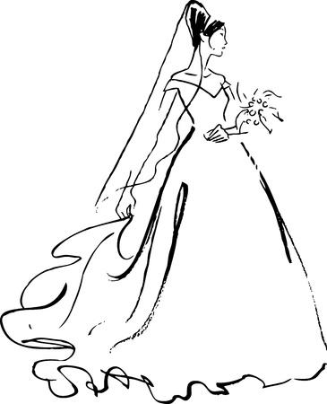 bocetos de personas: novia negro sobre blanco de dibujo
