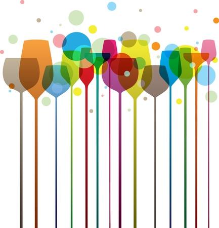 와인: 파티 및 F & B 디자인에 대한 완벽한 다채로운 알코올 음료 안경,