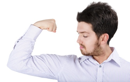 Young business man showing off success over white Stock Photo - 10141664