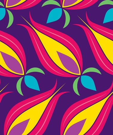 Vector background seamless pattern with beautiful tulips classical Ottoman-Turkish style