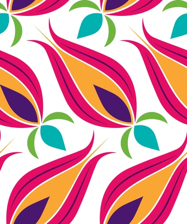 Vector background seamless pattern with beautiful tulips classical Ottoman-Turkish style Vector