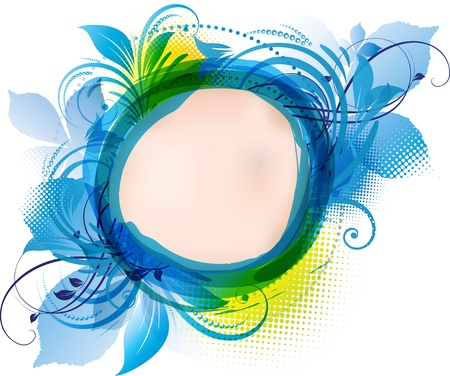 아쿠아: 복사 공간이 파란색 꽃 배경의 예술 일러스트