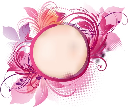 art of a pink floral background with copy space Vector
