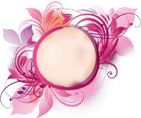 cadre noir et blanc: l'art d'un fond rose floral avec espace de copie Illustration