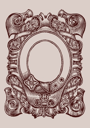 art of an old page engraving frame with floral ornaments Vector