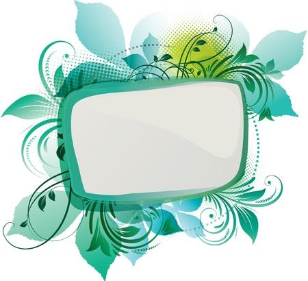 papel tapiz turquesa: Arte de un fondo verde floral con espacio de copia