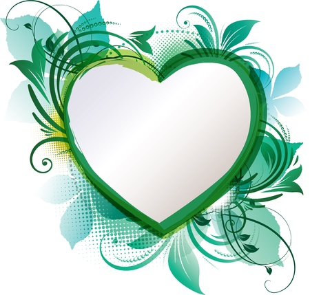 yellow note: art of a green floral heart background with copy space Illustration