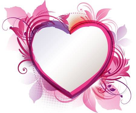 art of a pink floral heart background with copy space