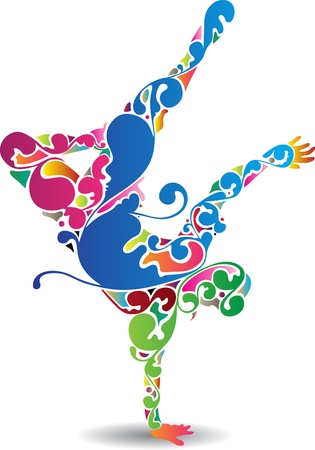 hiphop: art of a male break dancer with colorful flourishes Illustration
