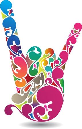 rockstar: kunst van een rots symbool hand met kleurrijke bloeit