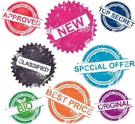 approved stamp: Colecci�n de sellos de grunge en varios colores