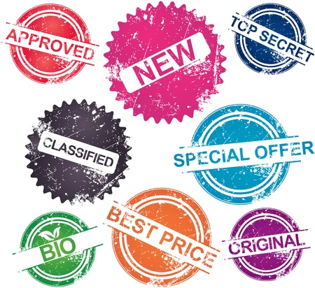 Collection of grunge stamps in various colors Vector