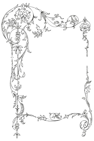 Cadre floral classique avec des feuilles victoriennes et boucles