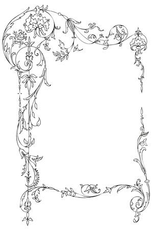 Klassiek floral frame met Victoriaanse bladeren en krullen