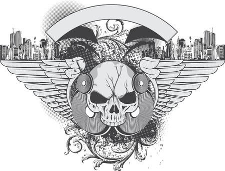 Grunge urban illustration with skull, wings and splashes, perfect for apparel print Vector