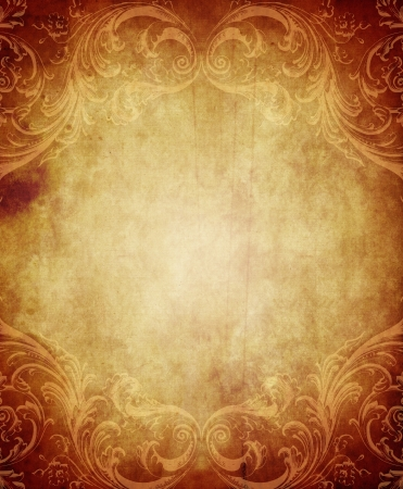 Vertical rectangular vintage paper background with grunge and decorative details photo