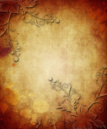 aged paper: Vintage paper background with grunge and decorative details