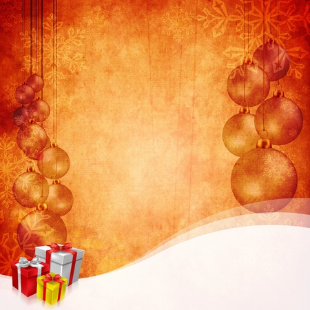 christmas baubles of modern design: Vintage Christmas background design with copy space for your text and images, very high resouliton available. Stock Photo