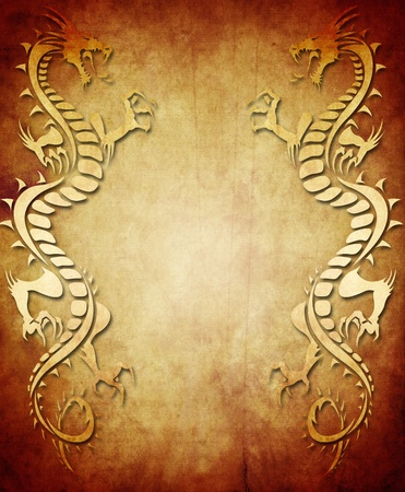 chinese art: Vintage paper background with two symmetrical dragon figures Stock Photo
