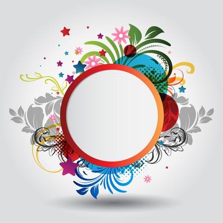 anniversary party: Cerchio bellissimo sfondo con ornamenti floreali Vettoriali