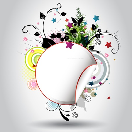 copy: Beautiful circle background with floral ornamentation Illustration