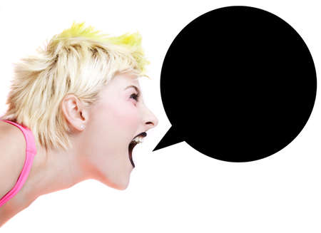 Isolated image of a blonde punk girl with speech bubble photo