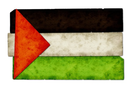middleeast: Old paper collage art in the shape of Palestine flag