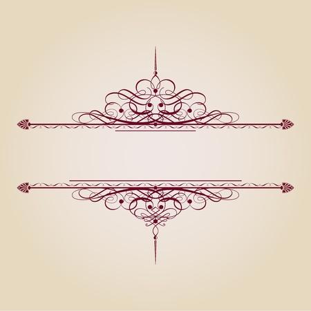 barok ornament: Vintage decoratieve tekst banner op bruine achtergrond. Stock Illustratie