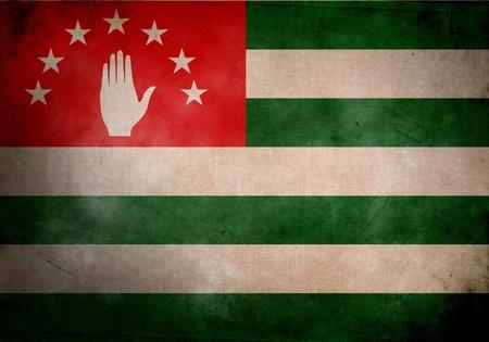 abkhazia: Abkhaz flag on old and vintage grunge texture