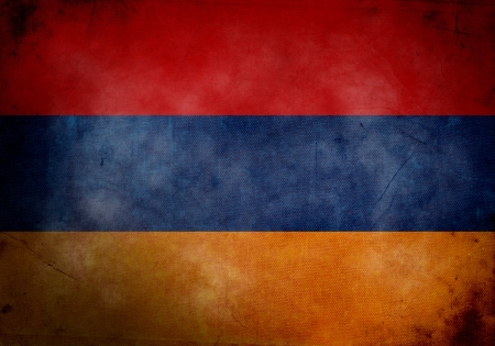 armenian: Armenian flag on old and vintage grunge texture Stock Photo