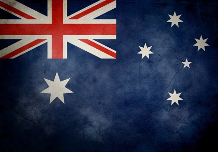 Australian flag on old and vintage grunge texture photo
