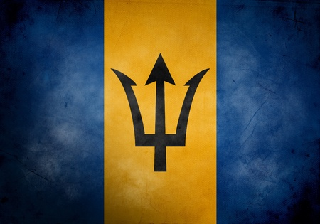 Barbados flag on old and vintage grunge texture photo