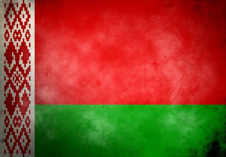 Belarus flag on old and vintage grunge texture photo