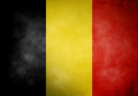 Belgium flag on old and vintage grunge texture photo