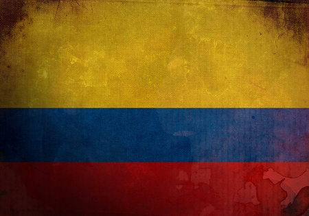 Colombia flag on old and vintage grunge texture photo