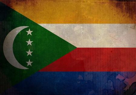comoros: Comoros flag on old and vintage grunge texture Stock Photo