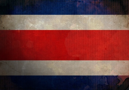costa rica flag: Costa Rica flag on old and vintage grunge texture