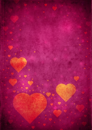 Love themed magenta vintage paper background with hearts and copy space photo